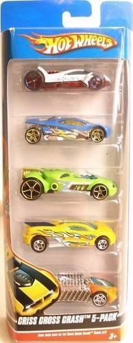 Hot Wheels 5 Car Gift Pack - Criss Cross Crash by Mattel. $17.99. 1:64 Scale. Age 3+. Great cars to go with the CRISS CROSS CRASH PLAYSET!. Pack of 5 die cast cars. This pack of 5 cars includes the following: Backdraft, Rocketfire, Vulture, Krazy 8s, & Sling Shot .  Age 3+