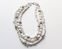 White Agate Strands Sterling Beads 3 by BEADEDNECKLACESHOPPE