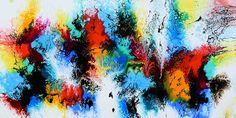 Stort abstrakt maleri til stuen - Elevation I maleri