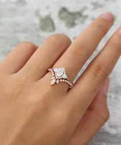 Pear Diamond Engagement Ring, Pear Shaped Engagement Rings, Beautiful Engagement Rings, Engagement Ring Settings, Vintage Engagement Rings, Vintage Rings, Diamond Wedding Ring Sets, Moonstone Engagement Rings, Disney Engagement Rings