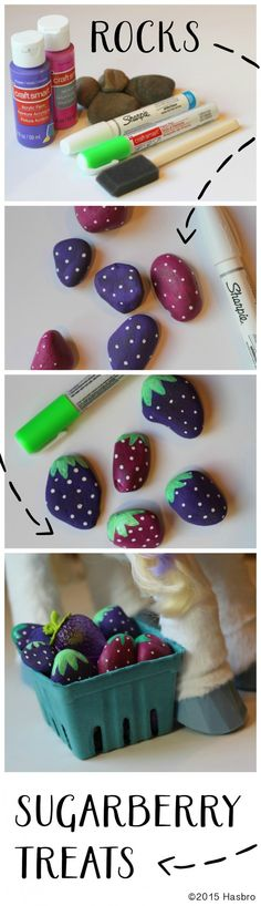 """Turn rocks into yummy Sugarberry Treats like StarLily My Magical Unicorn treat.  You""""ll just need a handful of berry-sized rocks, paint supplies, and a little imagination! Inspired and sponsored by FurReal Friends"""