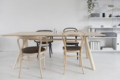 wooden table thonet