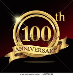 100th golden anniversary logo, 100 years anniversary celebration with ring and ribbon. - stock vector