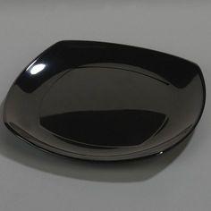 "Carlisle Food Service Products 11.63"" Melamine Upturn Square Plate (Set of 48) Color: Black"