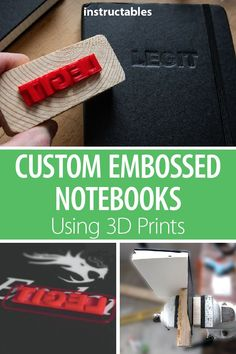 This is a very simple, yet very effective process of embossing notebooks (and other items) using prints. You can put a logo, or a name, picture, anything you want. 3d Printing Business, 3d Printing Diy, 3d Printer Designs, 3d Printer Projects, Impression 3d, Fusion 360, 3d Printed Objects, Leather Projects, Emboss