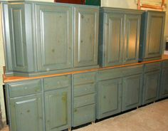 Kraftmaid Kitchen Cabinet Set Moss Glaze Finish Birch Wood Gently Used