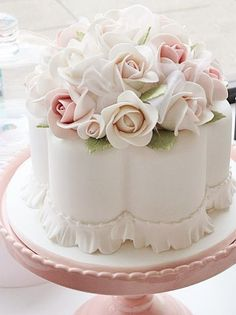 Dainty Scalloped White Cake with Pink and White Roses ~ all edible |