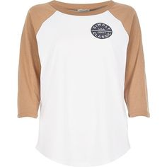 River Island White and camel raglan badge t-shirt ($40) ❤ liked on Polyvore featuring tops, t-shirts, white, long sleeve t-shirts, t shirts / tanks / sweats, women, retro tees, american tees, long sleeve white tee and white long sleeve top