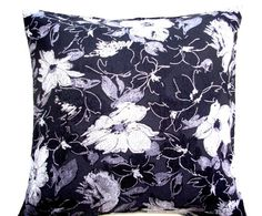 Black Cushion - Silver Flowers- Silver Accent Pillows - Custom Cushions - 18x18 Pillow Covers - Great Gift - Home Decor Accessories.