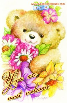 Teddy With Flowers Painting by Morgan Fitzsimons - Teddy With Flowers Fine Art Prints and Posters for Sale You Are Welcome Images, Welcome Pictures, Decoupage, Welcome Gif, Bear Paintings, Bear Images, Cute Teddy Bears, Bear Art, Sale Poster
