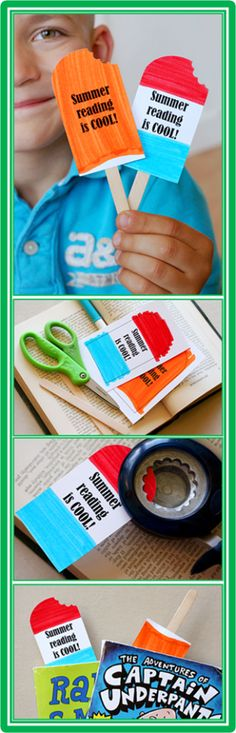 """3 Fun Summer Projects~  Popsicle Bookmarks: print, color, cut out, """"take a bite,"""" glue to a craft stick, and you're done.  Great reminder to keep reading during the summer!  Read the entire post at Lessons4Now for more, fun craft ideas!"""