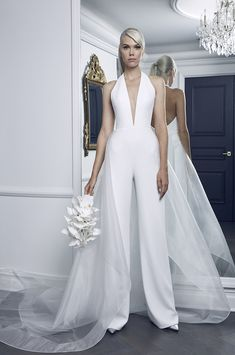 Discount Modest Plus Size Wedding Dresses Jumpsuit With Tulle Overskirt Deep V Neck Simple Pure White Beach Wedding Dress Bridal Gowns Sexy Back Beach. White Beach Wedding Dresses, Wedding Reception Outfit, Wedding Dresses Plus Size, Modest Wedding Dresses, Wedding Suits, Simple Dresses, Bridal Dresses, Wedding Beach, Fall Dresses