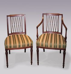 A fine quality set of 4 Single and 2 Arm Sheraton period mahogany Dining Chairs, having gadrooned decoration to the top rails above lattice backs with stuff-over seats and panelled friezes, supported on ring turned octagonal tapering legs with leaf carved decoration. The Arms raised on octagonal panelled, vase and beaded turned supports. Single Chair: Height 34 inches Width 20 inches Depth 19 inches