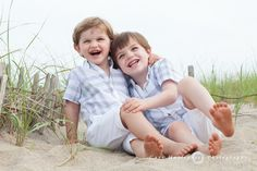 Brothers in a Nantucket beach portrait