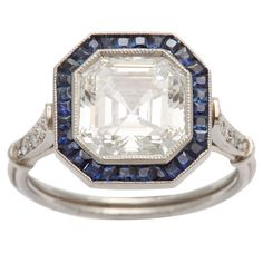 Love this one!! Art Deco Ascher cut diamond engagement ring | From a unique collection of vintage engagement rings at http://www.1stdibs.com/jewelry/rings/engagement-rings/