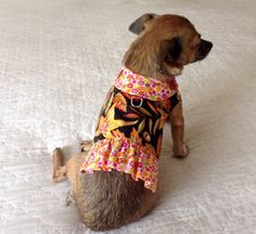 Small Dog Vest Fall Autumn Print Leaves by BloomingtailsDogDuds