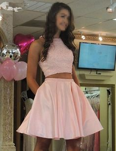 Sexy Short Prom Dress , Pink Two Pieces