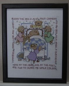 """This whimsical children's prayer is a delight to be seen in any child's nursery! Designed by Linda Gillum for Leisure Arts (C) 1997, was stitched on a piece of 28 count Salt Evenweave with 100% cotton DMC floss. The design area is 94W x 105H Stitches. It is matted and framed in a black 8"""" x 10"""" (20.32 x 25.4cm) wood frame. Glass is included. Pictures were taken without the glass to prevent glare and show detail."""