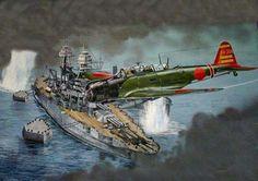 Las Cosicas del Panzer USS Arizona en Pearl Harbor y un Kate Air Fighter, Fighter Jets, Military Art, Military History, Fighter Aircraft, Ww2 Aircraft, Uss Arizona Memorial, Imperial Japanese Navy, Pearl Harbor Attack