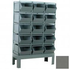 """Stackrack Unit, 51-1/4""""W X 24""""D X 70""""H - 15 Steel Bins, Gray by STACKBIN CORPORATION. $1121.00. Stackrack Unit, 51-1/4""""W X 24""""D X 70""""H - 15 Steel Bins, GrayHere are a few bin storage units that have been built using same size bins and set on top of our standard 12"""" high rack base. Here we are using the 15""""W x 24""""D x 11""""H Stackbin and Stackrack to create units with certain amounts of compartments. All bin units are completely modular and can be reconfigured or added..."""