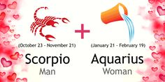 Love match compatibility between Scorpio man and Aquarius woman. Read about the Scorpio male love relationship with Aquarius female. Scorpio And Aquarius Compatibility, Numerology Compatibility, Zodiac Signs Aquarius, Aquarius Facts, Scorpio Zodiac, Scorpio Man Traits, Dating A Scorpio Man, Aquarius Horoscope, Scorpio Quotes
