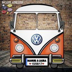 Photocall Frontal Furgoneta Volkswagen Clásica Naranja