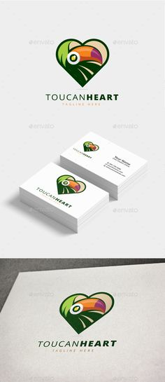 Toucan Heart Logo — Photoshop PSD #services #symbol • Available here ➝ https://graphicriver.net/item/toucan-heart-logo/20822171?ref=pxcr
