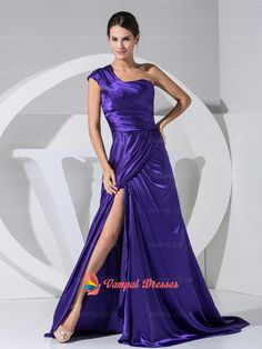 138.00$  Buy here - http://vimpk.justgood.pw/vig/item.php?t=ly804h35829 - Bright Purple One Shoulder A-line Pleated Prom Dresses With High Split 138.00$