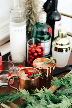 Christmas Bar Cart + Holiday Moscow Mules