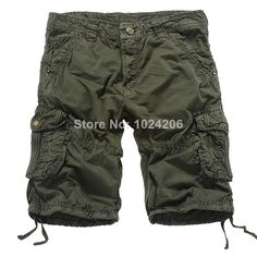 Free Shipping 2014 Hot Sale male's leisure/casual short trousers man's shorts khaki/green/brown/army green Size 29-38 $27.79