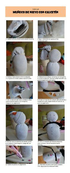 tutorial muñeco de nieve con calcetin