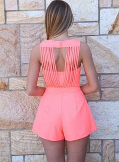 Neon Pink Playsuit with Back Multi-Strap Detail,  Other, hot pink multi strap shorts, Chic