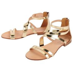 Cocobelle Mikonos Sandals found on Polyvore featuring shoes, sandals, flats, sapatos, gold, sandals - flat, flat sandals, cocobelle shoes, cocobelle and gold shoes