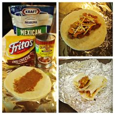 Burritos for camping, make ahead and cook over the campfire. ((would NOT make them with fritos. but I love the idea of make-ahead and take))