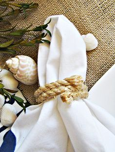 diy home decor rope napkin holders on a beach table setting by ...love Maegan, via Flickr
