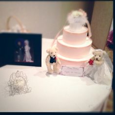 display-Japanese style wedding photo,ring pillow (a horse-drawn carriage),welcome dolls(which my mom made)♡