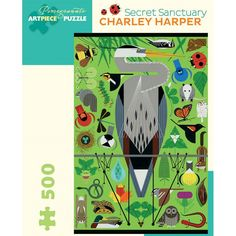 "Charley Harper Secret Sanctuary Jigsaw  The featured image comes from a 1991 poster for the Nature Centre at Shaker Lakes in Cleveland, Ohio, created in celebration of the area's wildlife and the many years of ""serendipity in the suburbs.""  Thoughtfully conceived and engagingly intricate, this 500 piece puzzle combines superb colour reproduction and images that will delight all ages.  Puzzle size: 46 x 68 cm"