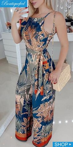 Tropical Print Spaghetti Strap Jumpsuit in 2020 Fashion Line, Look Fashion, Hijab Fashion, Fashion Dresses, Womens Fashion, Long Jumpsuits, Jumpsuits For Women, African Fashion, Stylish Outfits