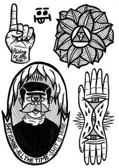 Jack Boulton's Black & White Tattoo Illustrations