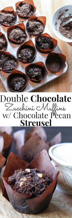 Rich, delicious and oh so chocolatey!  Vegan Double Chocolate Zucchini Muffins w/ Chocolate Pecan Streusel | Vanilla And Bean