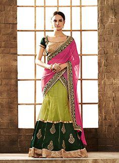 Ravishing Green and Pink Lehenga Saree