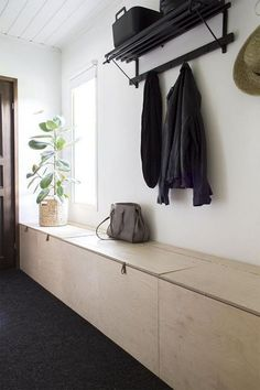Besides tables, you can rely on benches as your house's entryway furniture. An entryway bench can be as simple as a plank of a wood, long bench. If you have had one entryway . Read Entryway Bench Ideas that are Useful and Beautiful Entryway Furniture, Entryway Decor, Entryway Bench, Bedroom Decor, Entryway Ideas, Hallway Inspiration, Interior Inspiration, Entry Way Design, Bench With Storage