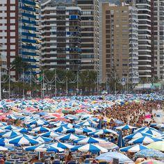 Summer in Benidorm, Alicante, Spain Alicante Spain, Rush Hour, Island Beach, Spain Travel, Umbrellas, Travel Destinations, Landscapes, The Incredibles, Explore