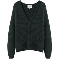 Moderne Sylvia Alpaca Handknit Cardigan (5.145 ARS) ❤ liked on Polyvore featuring tops, cardigans, outerwear, sweaters, v-neck tops, cardigan top, button front top, long sleeve v neck top and hand knit cardigan