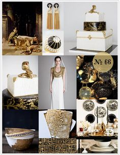 Mood Board: Cleopatra (black, gold, and white wedding) Maybe instead of gold, copper? Bronze Wedding, Gold Wedding, Dream Wedding, Wedding Day, Egyptian Wedding, Egyptian Party, Wedding Themes, Wedding Colors, Wedding Decorations