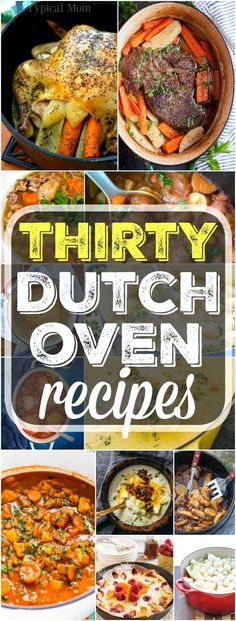 Here are 30 easy dutch oven recipes you can use at home or when you're camping. From dinners to bread and dutch oven desserts too you will find a variety of simple and easy to put together meals here you can cook in your cast iron dutch oven. Dutch Oven Chicken, Oven Chicken Recipes, Beef Recipes, Soup Recipes, Recipes Dinner, Dessert Recipes, Dessert Dishes, Recipe Chicken, Duch Oven Recipes