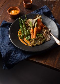 Grilled vegetables with romesco sauce.