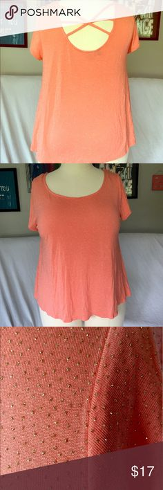 Jennifer Lopez Coral Sparkle Criss Cross Tee I love everything about this top. Light coral with small gold sparkly dots and a criss cross back. Jennifer Lopez Tops Tees - Short Sleeve