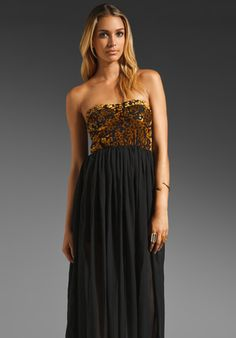GYPSY JUNKIES Dylan Bustier Maxi in Goldenrod/Velvet Lace at Revolve Clothing - Free Shipping!