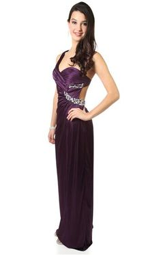 Deb--one shoulder prom dress with criss cross bodice and full skirt